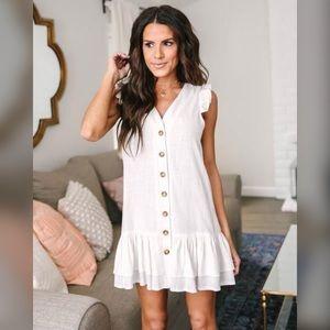 Adorable White Linen Button-Down Dress w/ Ruffle